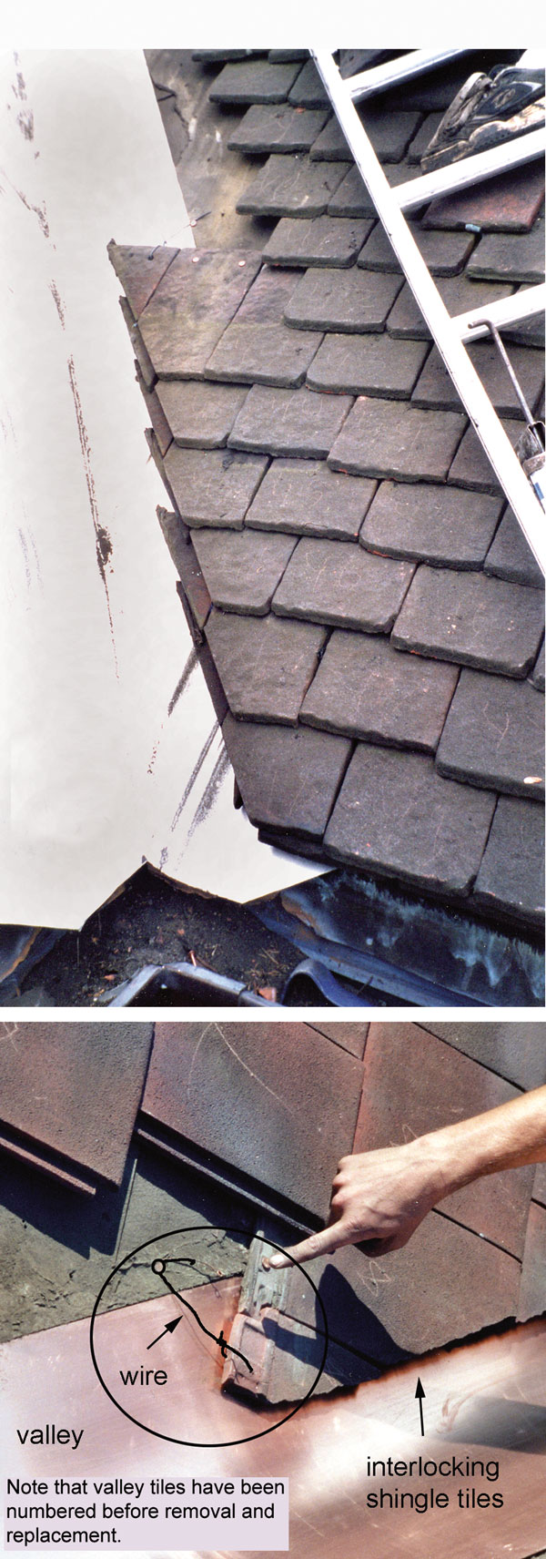 Replacing a valley on a clay tile roof.