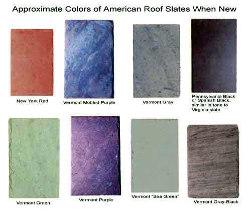 Pallette of roofing slate colors.